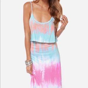 Lulu's Never Say Tie-Dye Maxi Dress Sz M